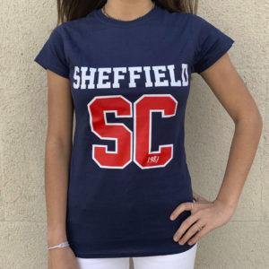 Camiseta azul con SC en rojo